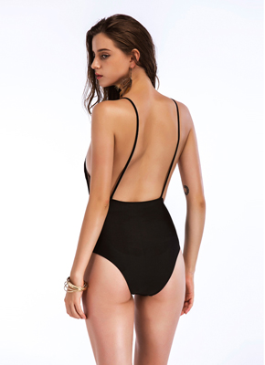 Black color 1 piece swimsuits for women