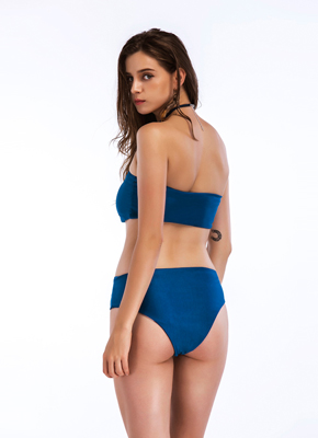 Solid color bra style 2 piece bathing suit Blue