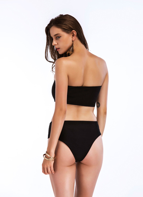 Solid color bra style 2 piece bathing suit Black