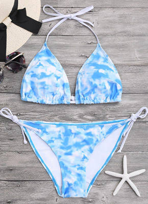 printing triangle bikini set