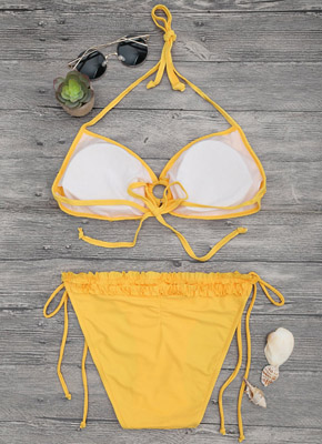 Fold Bandage Triangle Bikini set yellow
