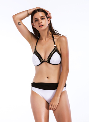 White and Black  Paillette Push Up Bikini set