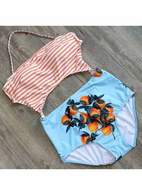 Orange Stripe & Orange printing Cut Out One Piece Swimwear 4