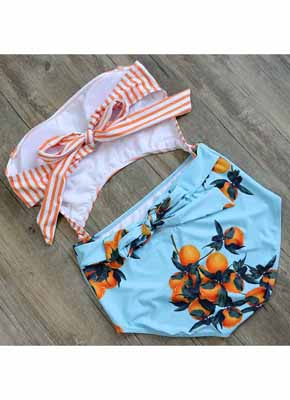 Orange Stripe & Orange printing Cut Out One Piece Swimwear 5