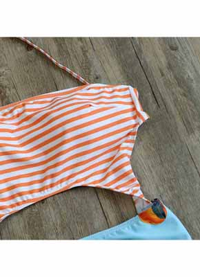 Orange Stripe & Orange printing Cut Out One Piece Swimwear 6
